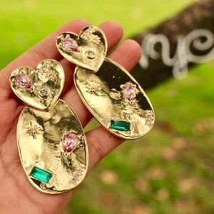 New ANTHRO Gold Heart Geo Rhinestone Drop Earrings